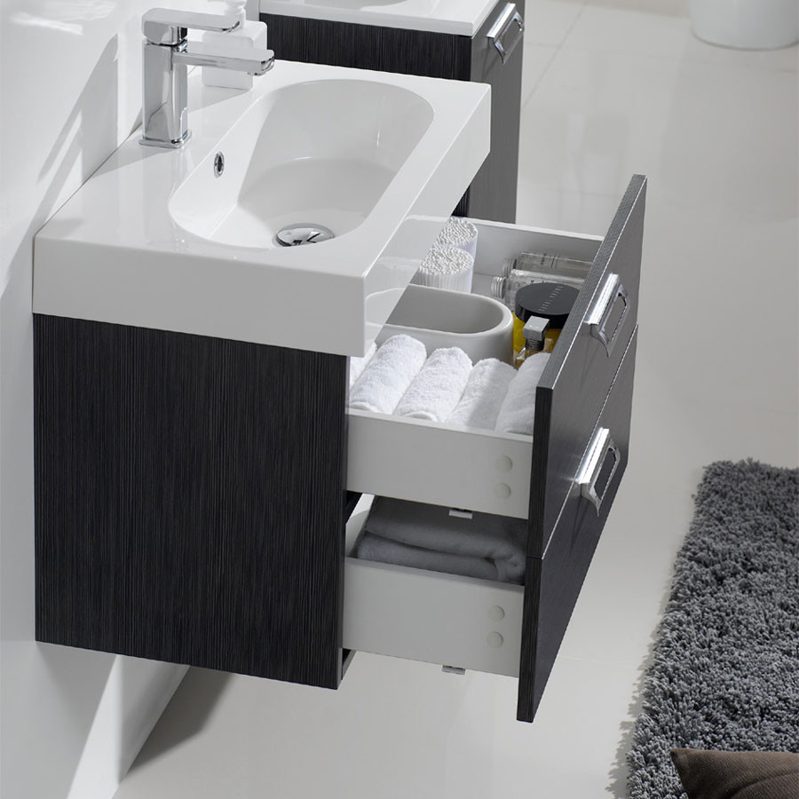 arredo bagno mobile alma da 60 cm in 3 con lavabo in mineralmarmo. Black Bedroom Furniture Sets. Home Design Ideas