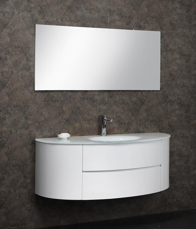 Arredo bagno mobile beta3 con lavabo in cristallo for Lavabo sospeso con mobile