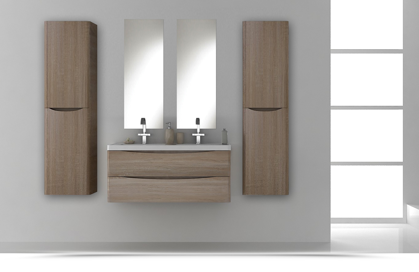 Arredobagno light 120cm doppio lavabo color rovere con for Top arredo