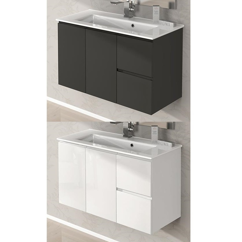 arredo da bagno omega cm 100 lavabo ceramica bianco lucido grigio talpa. Black Bedroom Furniture Sets. Home Design Ideas