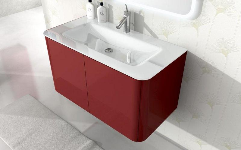 Mobile Bagno Liverpool cm 94 lavabo in cristallo bordi arrotondati